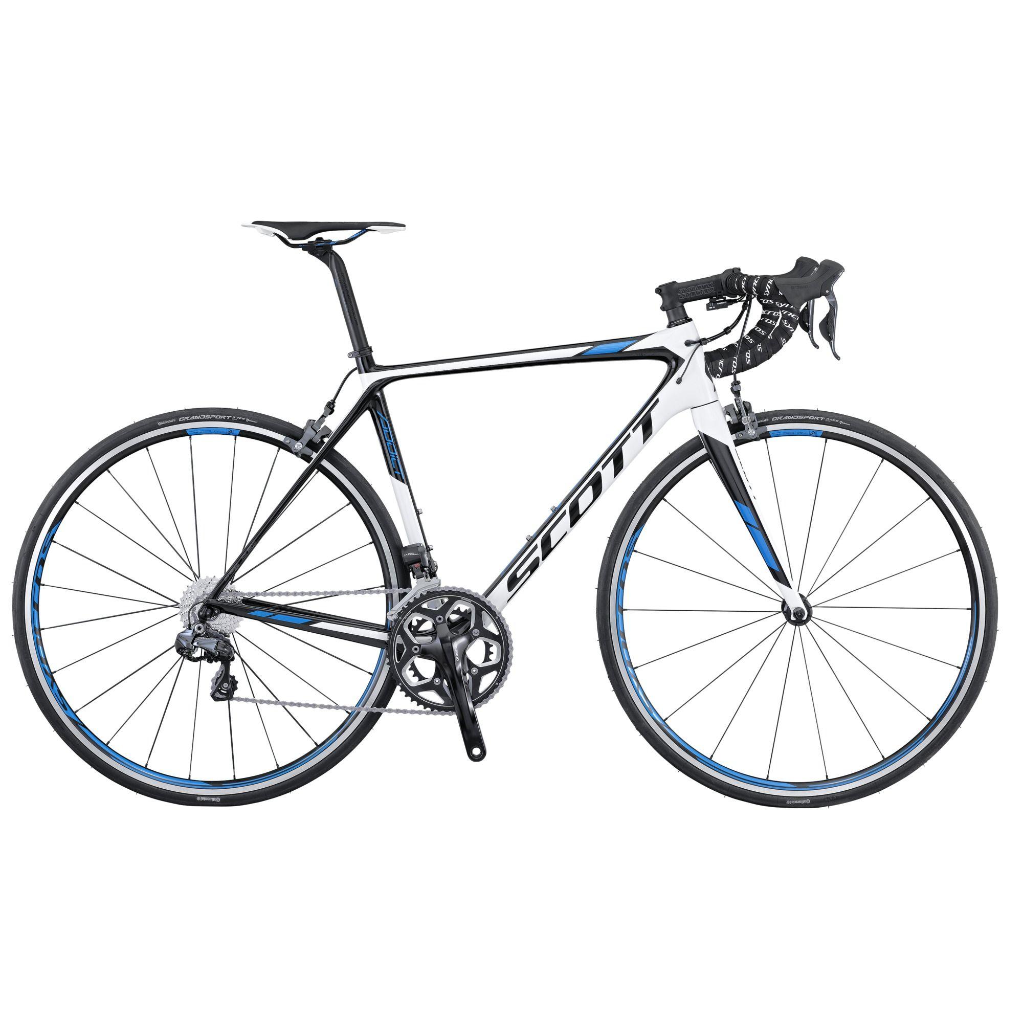 Велосипед ScottШоссейные<br>Scott Addict 15 - это хороший пример идеально сбалансированного велосипеда для тренировок и соревнований в шоссейных дисциплинах велоспорта. Помимо надежного оборудования модель обладает стильным дизайном, способным приковывать взгляды прохожих и болельщиков. Scott Addict 15 получился легким за счет рамы и вилке, которые изготовлены из высокотехнологичного карбона. Торможение и переключение передач осуществляется навесным оборудованием полупрофессионального уровня Shimano Ultegra. Сборные колеса Syncros RP2.0 обуты в накатистые покрышки Continental Grand Sport Race.<br><br>year: 2016<br>цвет: белый<br>пол: мужской<br>уровень оборудования: профессиональный<br>рулевая колонка: Ritchey PRO Integrated<br>вынос: Syncros FL2.0, 1 1/8 / four Bolt 31.8 мм<br>руль: Syncros RR2.0, Anatomic 31.8 мм<br>передний тормоз: Shimano Ultegra BR-6800, Super SLR Dual pivot<br>задний тормоз: Shimano Ultegra BR-6800, Super SLR Dual pivot<br>цепь: Shimano 105 CN-HG600<br>система: Shimano FC - RS500, Compact Hyperdrive, 52x36T<br>каретка: Ultegra SM-BB72-41<br>ободья: Syncros RP2.0, спереди: 18H, сзади: 24H<br>передняя втулка: Syncros RP2.0<br>задняя втулка: Syncros RP2.0<br>спицы: Syncros RP2.0<br>передняя покрышка: Continental Grand Sport Race, Fold, 700 x 23C<br>задняя покрышка: Continental Grand Sport Race, Fold, 700 x 23C<br>седло: Syncros RR2.0<br>подседельный штырь: Syncros Carbon FL1.0 ECL, Ergoptimized Comfort Layup, 27.2 х 350 мм<br>кассета: Shimano 105 CS-5800, 11-28T<br>манетки: Shimano Ultegra ST-6871, Electronic<br>вес: 7.38 кг<br>рама: Addict HMF / IMP Superlight Carbon technology / Road Race geometry / Replaceable Dropout / STD Seattube / INT BB<br>вилка: Addict HMF 1 1/8 - 1 1/4 Carbon steerer, Integrated Carbon Dropout<br>размер рамы: 22&amp;amp;quot;<br>материал рамы: карбон<br>тип тормозов: ободной<br>передний переключатель: Shimano Ultegra FD-6870, Eletronic Shift System<br>задний переключатель: Shimano Ultegra RD-6870SS, 22 Speed Electronic<