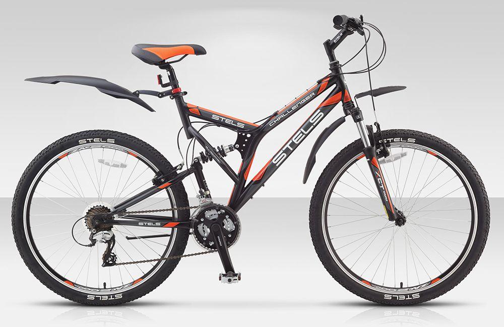 Велосипед StelsГорные<br>Двухподвесный велосипед Stels Challenger V — создан для агрессивных райдеров, которые любят быстрое и опасное катание за чертой города. Его рама, изготовленная из высокопрочной стали, оборудована системой задней подвестки, что обеспечит мягкость и удобство при катании по камням и корням. На раму так же установлена амортизационная вилка SR Suntour XCT с ходом 80 мм. Из оборудования так же стоит отметить: надежные тормоза, обладающие высокой мощностью, готовые остановить вас в любой ситуации, удобные руль и седло, благодаря которым вы сможете кататься весь день напролет, прочные колеса, крылья, защищающие вас и вашу одежу при катании по мокрым тропам. Отдельного внимания стоит система переключения передач. В ее качестве выступает Shimano класса Tourney и Acera. Это высококлассные переключатели, от всемирно известной японской компании.Если вы решились купить велосипед Challenger V, то обратите внимание, что вы можете оформить быструю доставку прямо на нашем сайте. Плюс к этому вы получаете оригинальное качество, гарантию и профессиональную консультацию.<br><br>year: 2015<br>пол: мужской<br>тип рамы: двухподвес<br>уровень оборудования: любительский<br>длина хода вилки: до 100 мм<br>блокировка амортизатора: нет<br>рулевая колонка: Сталь<br>передний тормоз: Tektro<br>задний тормоз: Tektro<br>система: SR Suntour, сталь, 24/34/42T<br>каретка: Картридж<br>педали: Пластик/сталь<br>ободья: Weinmann, алюминиевый сплав, с двойной стенкой<br>передняя втулка: Joy Tech, алюминий<br>задняя втулка: Joy Tech, алюминий<br>передняя покрышка: Chao yang, 26<br>задняя покрышка: Chao yang, 26<br>седло: Cionlli<br>кассета: Shimano Tourney, MF-TZ21<br>манетки: Shimano Altus, ST-EF51<br>рама: Сталь<br>вилка: SR Suntour XCT, ход 80 мм<br>тип заднего амортизатора: пружинный<br>цвет: чёрный<br>размер рамы: 20&amp;amp;quot;<br>материал рамы: сталь<br>тип тормозов: ободной<br>диаметр колеса: 26<br>тип амортизированной вилки: пружинная<br>передний переключатель: Shimano Tour