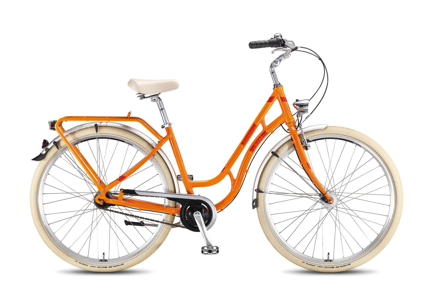 Велосипед KTMГородские<br>Стильный дизайн этого велосипеда оценят все любительницы активного образа жизни. Специальная геометрия алюминиевой рамы подходит для комфортных поездок в юбке, а удобное сиденье избавит от усталости даже при длительных велопрогулках. Главная особенность велосипеда - полностью закрытая и расположенная внутри втулки система переключения передач, которая практически не требует обслуживания и легко переключается. Также он оборудован прочным багажником для перевозки вещей.<br><br>year: 2016<br>цвет: белый<br>пол: женский<br>тип тормозов: ножной<br>диаметр колеса: 28<br>тип рамы: хардтейл<br>уровень оборудования: любительский<br>материал рамы: алюминий<br>тип амортизированной вилки: жесткая<br>длина хода вилки: нет<br>тип заднего амортизатора: без амортизатора<br>количество скоростей: 7<br>блокировка амортизатора: нет<br>планетарная втулка: да<br>рулевая колонка: VP MH-308E<br>вынос: KTM Line, AL-KT3<br>руль: KTM Line, Humpert, сталь, ширина 630 мм<br>грипсы: KTM Line, VLG-709 ergo<br>передний тормоз: Tektro 855<br>задний тормоз: Ножной<br>система: Prowheel PRA-115, 38T<br>защита звёзд/цепи: Horn Catena 09 /38T<br>педали: VP-615, Al8-Trekking<br>ободья: KTM Line 700C<br>передняя втулка: Shimano DH-3N31, Dynamohub<br>задняя втулка: Nexus -7, RT SG7C25<br>передняя покрышка: Schwalbe Fat Frank, 50-622<br>задняя покрышка: Schwalbe Fat Frank, 50-622<br>седло: Selle Royal Ondina<br>подседельный штырь: KTM Line, SP-612, 300/27.2 мм<br>кассета: Shimano Nexus, 19T<br>манетки: Shimano Nexus 7, SL-7S31<br>багажник: KTM Tourella, алюминиевый сплав<br>крылья: RPZ Trekking, 55 мм<br>вес: 16,8 кг<br>подножка: Massload<br>рама: Tourella, алюминиевый сплав<br>вилка: City T: Unicrown 700C<br>размер рамы: 20&amp;amp;quot;<br>Серия: Tourella