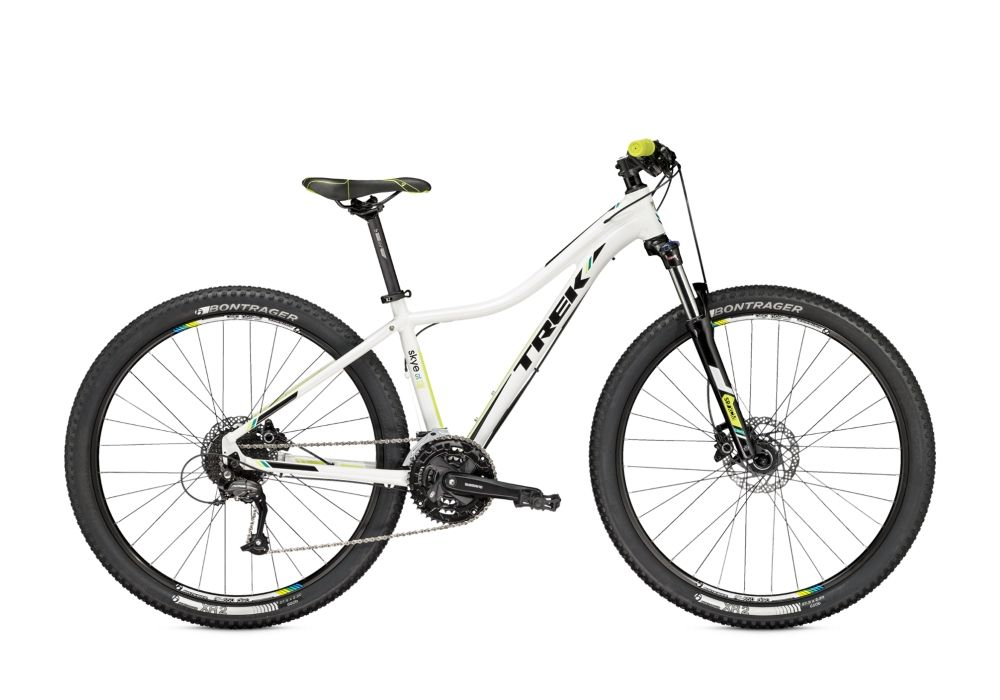 Велосипед TrekЖенские<br>ВЕЛОСИПЕД TREK SKYE SL DISC WSD 29 (2015) – стильный женский байк, радующий своих владелиц техническим совершенством, высокими показателями комфорта и уровнем безопасности. Алюминиевая рама Alpha Gold делает управление чрезвычайно удобным. Байк имеет 27 скоростных режимов – это оптимальный набор для катания в разных условиях. Колеса диаметром 29 дюймов ведут себя уверенно и стабильно. Гидравлические тормоза Shimano M355 (Япония) понятны, эргономичны и предсказуемы. Благодаря вилке Suntour 100 мм, райдер не чувствует вибраций от ударов о неровности дороги.Наш магазин предлагает купить ВЕЛОСИПЕД SKYE SL DISC WSD 29 (2015) по приемлемой цене в рублях, организует бесплатную доставку в любой город России и гарантирует качество производителя.<br><br>year: 2015<br>пол: женский<br>тип рамы: хардтейл<br>уровень оборудования: любительский<br>длина хода вилки: от 100 до 150 мм<br>блокировка амортизатора: да<br>рулевая колонка: 1-1/8<br>вынос: Bontrager Race Lite, 31.8 мм<br>руль: Bontrager Low Riser, 31.8 мм, подъем 5 мм<br>грипсы: Bontrager Race<br>передний тормоз: Shimano M355<br>задний тормоз: Shimano M355<br>цепь: KMC X9<br>система: Shimano M371, 44-32-22T<br>педали: Wellgo<br>ободья: Bontrager AT-650<br>передняя втулка: Formula DC20, алюминиевый сплав<br>задняя втулка: Formula DC22, алюминиевый сплав<br>передняя покрышка: Bontrager XR1, 29<br>задняя покрышка: Bontrager XR1, 29<br>седло: Bontrager Evoke 1 WSD<br>подседельный штырь: Bontrager SSR 27.2 мм<br>кассета: Shimano HG20 11-34T, 9 скоростей<br>манетки: Shimano Altus M370, 9 скоростей<br>рама: WSD Alpha Gold, алюминий<br>вилка: SR Suntour XCM, ход 100 мм<br>тип заднего амортизатора: без амортизатора<br>цвет: белый<br>размер рамы: 18.5&amp;amp;quot;<br>материал рамы: алюминий<br>тип тормозов: дисковый гидравлический<br>диаметр колеса: 29<br>тип амортизированной вилки: пружинно-масляная<br>передний переключатель: Shimano Altus<br>задний переключатель: Shimano Altus<br>количество скоростей: 27