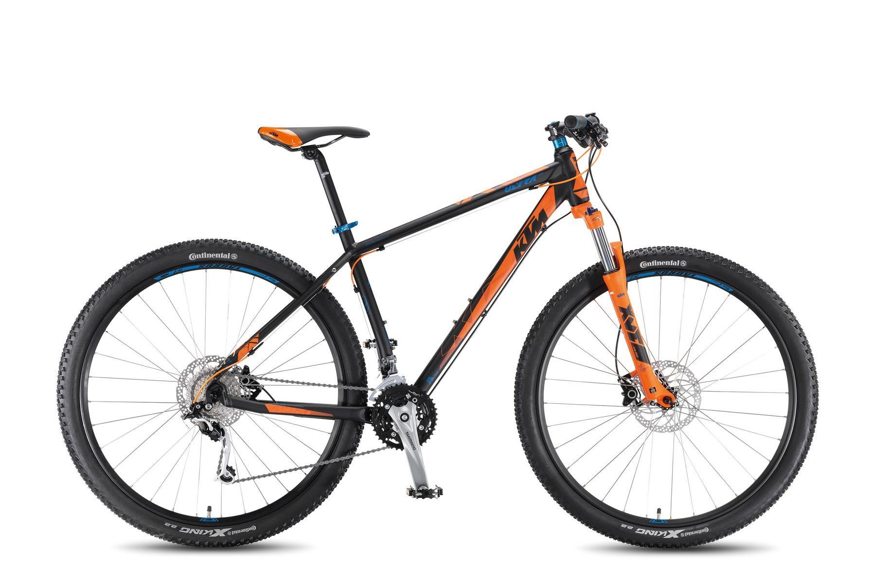 Велосипед KTMГорные<br>Классический велосипед для катания по городу и пересеченной местности. Велосипед сочетает в себе элегантный дизайн и современное навесное оборудование. Легкость велосипеду обеспечивают алюминиевые вилка и рама Ultra 29 Alloyframe. Подобрать нужную передачу на спуске или подъеме вам поможет навесное оборудование любительского уровня Shimano. Дисковые гидравлические тормоза Shimano Altus гарантируют мгновенную остановку.<br><br>year: 2016<br>цвет: чёрный<br>пол: мужской<br>тип рамы: хардтейл<br>уровень оборудования: профессиональный<br>длина хода вилки: от 100 до 150 мм<br>тип заднего амортизатора: без амортизатора<br>блокировка амортизатора: да<br>рулевая колонка: Ritchey OE Logic Zero<br>вынос: KTM Comp ST-92A, 7 градусов<br>руль: KTM Comp HB-FB21L, прямой, ширина 700 мм, 9 градусов<br>грипсы: KTM Line VLG-1546A<br>передний тормоз: Shimano RT30 CL, диаметр ротора 180 мм<br>задний тормоз: Shimano RT30 CL, диаметр ротора 180 мм<br>тормозные ручки: Shimano M355, 3-F<br>система: Shimano M3000, 40-30-22T<br>педали: Wellgo C127<br>ободья: KTM-Line CC 29<br>передняя втулка: Shimano RM33 CL - 100QR<br>задняя втулка: Shimano RM33 CL - 135QR<br>передняя покрышка: Continental X-King Sport 29, 55-622<br>задняя покрышка: Continental X-King Sport 29, 55-622<br>седло: KTM VL-3378<br>подседельный штырь: KTM Line SP-612, 400/27.2 мм<br>кассета: Shimano HG300-9, 11-34<br>манетки: Shimano Altus M370-9<br>вес: 14,9 кг<br>рама: Ultra 29, Hardtail, R: 135QR, алюминиевый сплав<br>вилка: Suntour XCM-HLO 29, Lockout w/o Remote, ход 100 мм<br>размер рамы: 19&amp;amp;quot;<br>Серия: None<br>материал рамы: алюминий<br>тип тормозов: дисковый гидравлический<br>диаметр колеса: 29<br>тип амортизированной вилки: пружинно-масляная<br>передний переключатель: Shimano Alivio M4000<br>задний переключатель: Shimano Deore XT M772, shadow<br>количество скоростей: 27