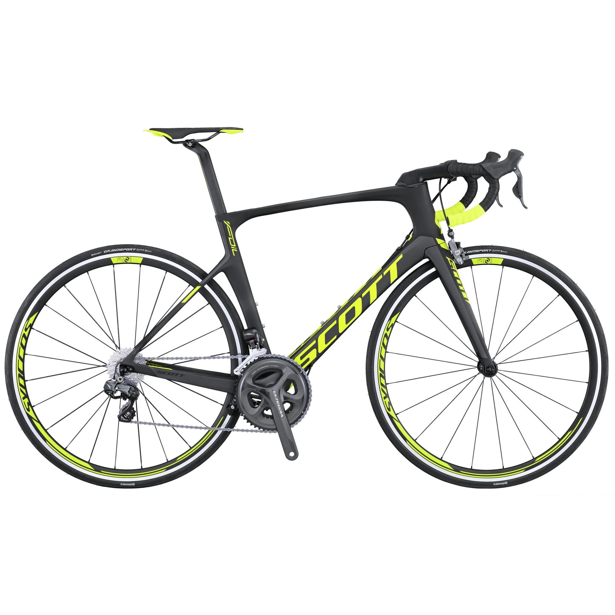 Велосипед ScottШоссейные<br>Scott Foil 10 - это высокоуровневый шоссейный велосипед, который способен понравиться широкому кругу профессиональных гонщиков. Модель отличается малым весом, стильным дизайном и высококачественными комплектующими. Рама и вилка Scott Foil 10 изготовлены из карбона, что помогло снизить общий вес модели. Трансмиссия Shimano Ultegra порадует вас надежной работой даже в сложных условиях. Ободная механика Shimano Ultegra поможет остановить велосипед в любой момент. Прочный виллсет Syncros RR2.0 обут в накатистые покрышки Continental Grand Sport Race.<br><br>year: 2016<br>цвет: чёрный<br>пол: мужской<br>уровень оборудования: профессиональный<br>рулевая колонка: Syncros Integrated<br>вынос: Syncros Foil 1 1/4<br>руль: Syncros RR2.0, Anatomic 31.8 мм<br>передний тормоз: Shimano Ultegra BR-6810, Super SLR Dual pivot / Direct mount<br>задний тормоз: Shimano Ultegra BR-6810, Super SLR Dual pivot / Direct mount<br>цепь: Shimano CN-HG600<br>система: Shimano Ultegra FC-6800, Hollowtech II, 52x36T<br>каретка: Ultegra SM-BB72-41<br>ободья: Syncros RR2.0, спереди: 20H, сзади: 24H<br>передняя втулка: Syncros RR2.0<br>задняя втулка: Syncros RR2.0<br>спицы: Syncros RR2.0<br>передняя покрышка: Continental Grand Sport Race, Fold, 700 x 23C<br>задняя покрышка: Continental Grand Sport Race, Fold, 700 x 23C<br>седло: Syncros RR2.0<br>подседельный штырь: Syncros Foil aero Carbon<br>кассета: Shimano Ultegra CS-6800, 11-28T<br>манетки: Shimano Ultegra ST-6870, 22 Speed Electronic Shift<br>вес: 7.5 кг<br>рама: Foil HMF IMP, F01 Aero Carbon tech. Road Race geometry Replaceable Dropout STD Seattube / INT BB<br>вилка: Foil HMF 1 1/4 - 1 1/2 Carbon steerer, Integrated Carbon Dropout<br>размер рамы: 21&amp;amp;quot;<br>материал рамы: карбон<br>тип тормозов: ободной<br>передний переключатель: Shimano Ultegra FD-6870, Eletronic Shift System<br>задний переключатель: Shimano Ultegra RD-6870, 22 Speed Electronic<br>количество скоростей: 22