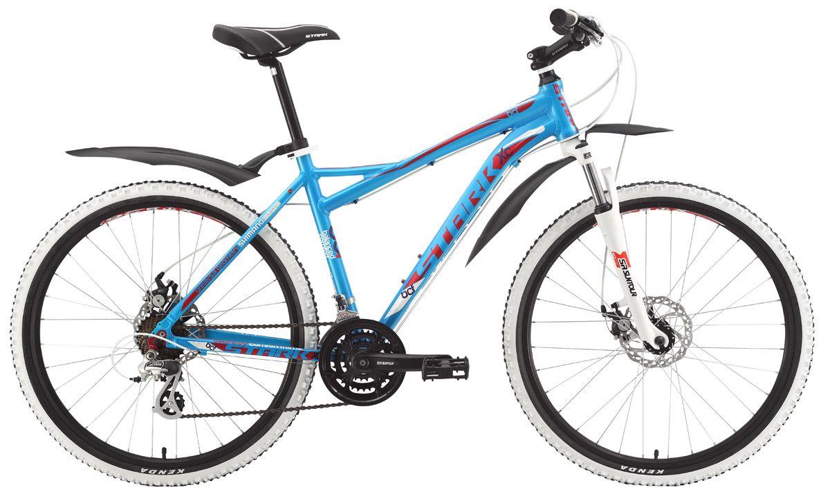 Велосипед StarkГорные<br>ВЕЛОСИПЕД STARK ANTARES DISC (2015) — эта горная модель привлекает и внешней яркостью, и внушительной комплектацией. Визуально — это всплеск сочного голубого цвета, лаконичная конструкция в лучших традициях бренда, оригинальные крылья для качественной защиты и продуманная посадка для снижения уровня усталости при езде. Рама этого велосипеда — алюминиевый сплав 6061, тормозная система — дисковые механические Promax. Покорять горные маршруты будет намного удобнее с 21-ступенчатой трансмиссией и мощными колесами 26 дюймов. Вы оцените стильные покрышки с белыми ободьями Weinmann XTB26 и плавную амортизацию в любых условиях.Вы можете купить ВЕЛОСИПЕД STARK ANTARES DISC (2015) у нас по доступной цене. Здесь только лучшие цены и выбор новинок от ведущих брендов. Доставка по РФ порадует скоростью.<br><br>year: 2015<br>пол: мужской<br>тип рамы: хардтейл<br>уровень оборудования: любительский<br>длина хода вилки: до 100 мм<br>блокировка амортизатора: нет<br>передний тормоз: Promax, диаметр ротора 160 мм<br>задний тормоз: Promax, диаметр ротора 160 мм<br>цепь: KMC Z51<br>система: Suntour 42/32/22<br>ободья: Weinmann XTB26<br>передняя втулка: Joytech Alloy disc<br>задняя втулка: Joytech Alloy disc<br>передняя покрышка: Kenda, 26 х 1.95<br>задняя покрышка: Kenda, 26 х 1.95<br>кассета: SunRace MFM2A, 14-28T<br>манетки: Shimano ST-EF51<br>рама: Алюминиевый сплав 6061<br>вилка: SR Suntour M3020, ход 63 мм<br>тип заднего амортизатора: без амортизатора<br>цвет: голубой<br>размер рамы: 18&amp;amp;quot;<br>материал рамы: алюминий<br>тип тормозов: дисковый механический<br>диаметр колеса: 26<br>тип амортизированной вилки: пружинная<br>передний переключатель: Shimano Tourney FD-TY10<br>задний переключатель: Shimano Altus RD-M310<br>количество скоростей: 21
