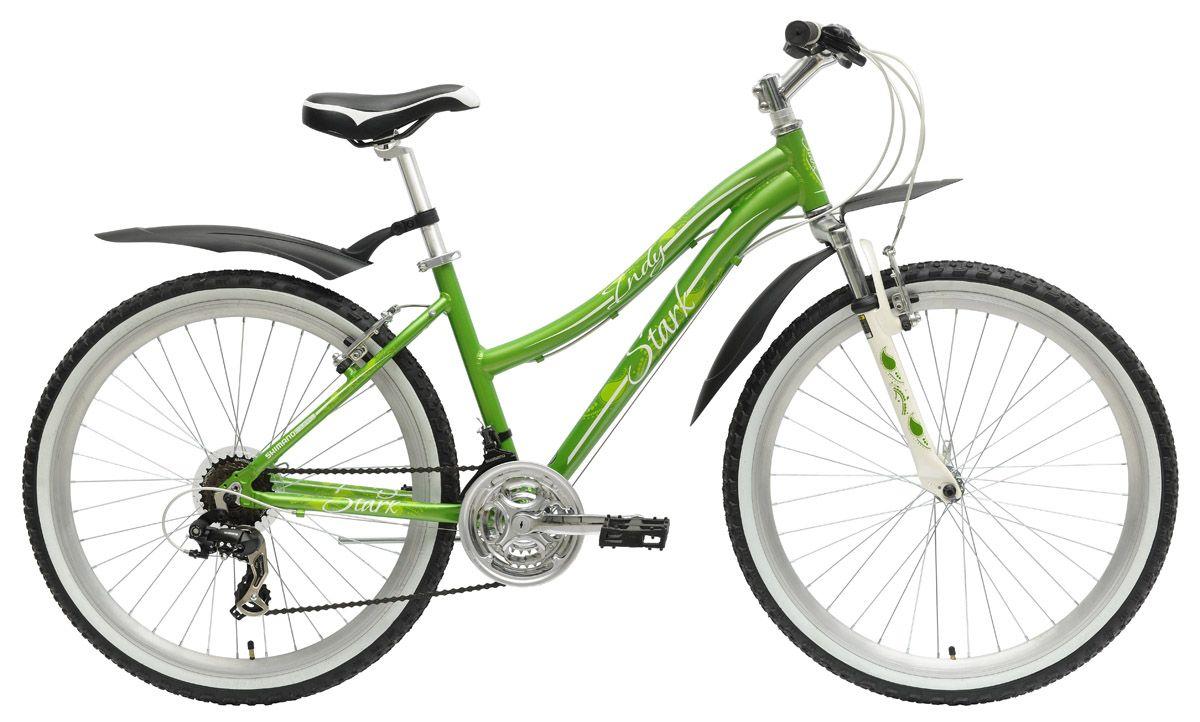 Велосипед StarkЖенские<br>ВЕЛОСИПЕД STARK INDY LADY (2015) — сочная и яркая модель с женской рамой в зеленом оттенке. Вы оцените продуманный дизайн этого велосипеда, в которой плавные линии сочетаются с отличным балансом и мощной комплектацией. Алюминиевая рама из сплава 6061 удивит вас своим комфортом, а ее технические характеристики позволят наслаждаться ездой в любых условиях. Гибридный набор деталей включает в себя колеса 26 дюймов в сочетании с амортизационной вилкой Zoom 327 и коробкой передач на 21 скорость. Ободные V-brake тормоза гарантируют вам быструю и безопасную остановку в нужный момент. А стильный крылья и прочная подножка добавят использованию велосипеда удобности.Приглашаем купить ВЕЛОСИПЕД STARK INDY LADY (2015) в нашем магазине. Для вас лучшие цены, выбор оригинальных моделей и доставка по РФ в сжатие сроки.<br><br>year: 2015<br>пол: женский<br>тип рамы: хардтейл<br>уровень оборудования: любительский<br>длина хода вилки: до 100 мм<br>блокировка амортизатора: нет<br>цепь: Taya TB50<br>система: 42/34/24<br>ободья: Алюминиевый сплав, двойные<br>передняя втулка: Quando<br>задняя втулка: Quando<br>передняя покрышка: Wanda, 26 х 1.95<br>задняя покрышка: Wanda, 26 х 1.95<br>кассета: Shimano MFTZ21, 14-28T<br>манетки: Shimano ST-EF51<br>крылья: Есть<br>рама: Алюминиевый сплав 6061<br>вилка: Zoom 327<br>тип заднего амортизатора: без амортизатора<br>цвет: белый<br>размер рамы: 18&amp;amp;quot;<br>материал рамы: алюминий<br>тип тормозов: ободной<br>диаметр колеса: 26<br>тип амортизированной вилки: пружинная<br>передний переключатель: Shimano Tourney FD-TZ30<br>задний переключатель: Shimano Tourney RD-TX35<br>количество скоростей: 21