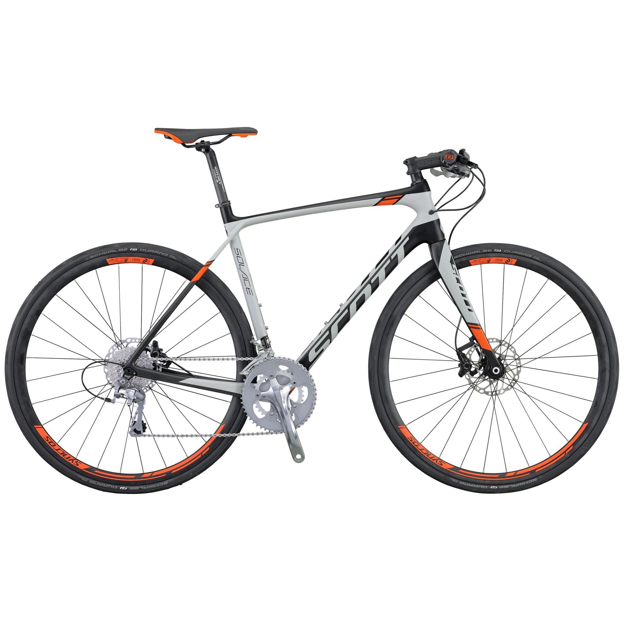 Велосипед ScottШоссейные<br><br><br>year: 2016<br>пол: мужской<br>уровень оборудования: продвинутый<br>рулевая колонка: Ritchey PRO Int. Cartridge<br>вынос: Syncros FL2.0 1 1/8 / four Bolt 31.8 мм<br>руль: Flatbar FL2.0, ширина 580 мм<br>передний тормоз: Shimano BR M615, SM-RT64 Rotor, диаметр ротора 160 мм<br>задний тормоз: Shimano BR M615, SM-RT64 Rotor, диаметр ротора 160 мм<br>цепь: KMC X10<br>система: Shimano Tiagra FC-4700, Compact Hyperdrive, 50x34T<br>каретка: Shimano BB-RS500-PB<br>ободья: Syncros Road Disc, 28H<br>передняя втулка: Formula Team Disc, 28H<br>задняя втулка: Formula Team Disc, 28H<br>спицы: 14G Stainless, 2 мм<br>передняя покрышка: Schwalbe Durano, 700 x 28C<br>задняя покрышка: Schwalbe Durano, 700 x 28C<br>седло: Syncros FL2.5<br>подседельный штырь: Syncros Carbon RR1.2, 27.2 х 35 мм<br>кассета: Shimano CS-HG500 11-32 T, 10 скоростей<br>манетки: Shimano Tiagra SL-4700<br>вес: 8.88 кг<br>рама: Solace HMF / IMP Carbon technology / Road Comfort geometry / INT BB<br>вилка: Solace HMF Flatmount Disc 1 1/8 Carbon steerer, Alloy Dropout<br>цвет: серый<br>размер рамы: 20.5&amp;amp;quot;<br>материал рамы: карбон<br>тип тормозов: дисковый гидравлический<br>передний переключатель: Shimano Tiagra FD-4700<br>задний переключатель: Shimano Tiagra Black RD-4700-GS<br>количество скоростей: 20