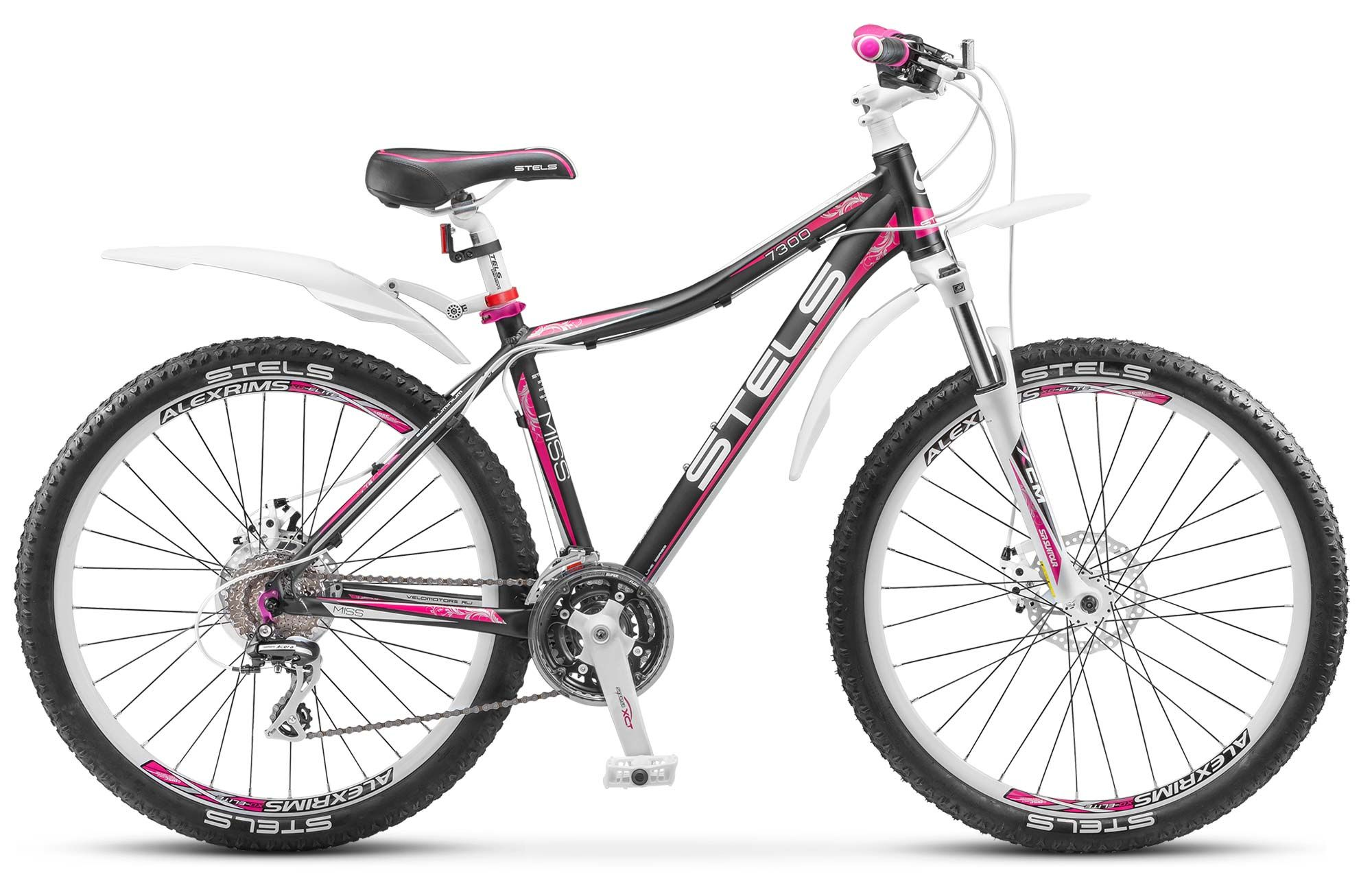 Велосипед StelsЖенские<br>Яркий велосипед для активных девушек Stels Miss 7300 MD отлично подойдет любительницам фитнеса и здорового образа жизни. Благодаря универсальной геометрии Stels Miss 7300 MD подойдет для катания как по городу, так и за его пределами. Трансмиссия, установленная на байк, относится к категории высокого любительского и представлена компанией Shimano. За амортизацию отвечает вилка SR Suntour XCM. Торможение осуществляется дисковой механикой Tektro Aquila. Рама, изготовленная из легкого алюминиевого сплава, имеет стильный дизайн, малый вес и высокую прочность.<br><br>year: 2016<br>цвет: розовый<br>пол: женский<br>тип рамы: хардтейл<br>уровень оборудования: любительский<br>длина хода вилки: от 100 до 150 мм<br>тип заднего амортизатора: без амортизатора<br>блокировка амортизатора: нет<br>рулевая колонка: Feimin, сталь<br>передний тормоз: Tektro Aquila, дисковый механический ротор 160 мм<br>задний тормоз: Tektro Aquila, дисковый механический ротор 160 мм<br>система: SR Suntour, сталь, 22/32/42T<br>каретка: Feimin, картридж<br>педали: Пластик<br>ободья: Алюминиевые двойные<br>передняя втулка: KT, алюминий<br>задняя втулка: KT, алюминий<br>передняя покрышка: Chao Yang, 26 x 2.0<br>задняя покрышка: Chao Yang, 26 x 2.0<br>седло: Cionlli<br>кассета: Shimano Altus, CS-HG41<br>манетки: Shimano Alivio, SL-M360<br>крылья: Пластик<br>рама: Алюминий<br>вилка: SR Suntour XCM, ход 100 мм<br>размер рамы: 17&amp;amp;quot;<br>Серия: None<br>материал рамы: алюминий<br>тип тормозов: дисковый механический<br>диаметр колеса: 26<br>тип амортизированной вилки: пружинная<br>передний переключатель: Shimano Altus, FD-M190<br>задний переключатель: Shimano Acera, RD-M360<br>количество скоростей: 24