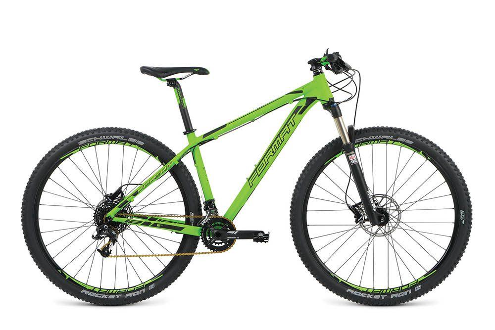 Велосипед FormatГорные<br><br><br>year: 2016<br>цвет: зелёный<br>пол: мужской<br>тип тормозов: дисковый гидравлический<br>диаметр колеса: 29<br>тип рамы: хардтейл<br>уровень оборудования: профессиональный<br>материал рамы: алюминий<br>тип амортизированной вилки: воздушно-масляная<br>длина хода вилки: от 100 до 150 мм<br>тип заднего амортизатора: без амортизатора<br>количество скоростей: 21<br>блокировка амортизатора: да<br>рулевая колонка: Neco, интегрированная, IS 42/28.6|IS 52.2/39.8 (tapered)<br>вынос: Format AS-007, -7, диаметр: 31.8 мм<br>руль: Format HB-FB21L, flat top, ширина: 680 мм, диаметр: 31.8 мм, backsweep: 5<br>передний тормоз: Avid DB3, диаметр ротора 180 мм<br>задний тормоз: Avid DB3, диаметр ротора 160 мм<br>цепь: KMC X10<br>система: Sram X5, 24 мм, 38x24T<br>каретка: Sram BB GXP XR<br>педали: Алюминиевый сплав<br>ободья: Weinmann XC180, алюминиевый сплав<br>передняя втулка: Novatec D041SB, 6-bolt, disc, 9x100 QR, 32H<br>задняя втулка: Novatec D142SBT, 6-bolt, disc, 10x135 QR, 32H<br>передняя покрышка: Schwalbe Rocket Ron performance, folding, 29<br>задняя покрышка: Schwalbe Rocket Ron performance, folding, 29<br>седло: Format VL-1353, cr-mo rails<br>подседельный штырь: Format SP-368, 31.6 мм<br>кассета: Sram PG-1020, 11-36T, 10 скоростей<br>передний переключатель: Sram FD X7<br>задний переключатель: Sram RD X7<br>манетки: Sram SL, Trigger X7<br>тип манеток: Рычажный<br>рама: Алюминий 29<br>вилка: Rock Shox Recon Silver TK 29<br>размер рамы: 18&amp;amp;quot;