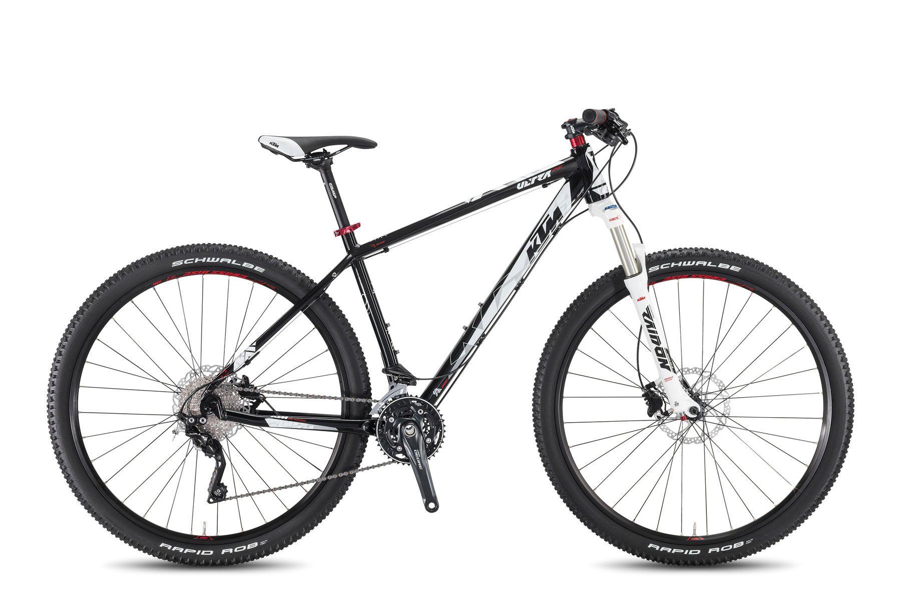Велосипед KTMГорные<br>Привлекательный KTM Ultra Sport 29– это прекрасная модель горного хардтейла, созданный для любителей динамичных поездок по городу и бездорожью. Рама выполнена из прочного алюминиевого сплава, облегчающего вес конструкции, а ее особая геометрия снижает нагрузку на спину. Трансмиссия составляет 30 скоростных режимов, что позволяет велосипеду с легкостью проходить разные типы дорог. Дополнительное удобство обеспечивают эргономичное сиденье KTM VL-3378.<br><br>year: 2016<br>цвет: чёрный<br>пол: мужской<br>тип рамы: хардтейл<br>уровень оборудования: профессиональный<br>длина хода вилки: от 100 до 150 мм<br>тип заднего амортизатора: без амортизатора<br>блокировка амортизатора: да<br>рулевая колонка: KTM Team B303AM drop/in-tapered, +5<br>вынос: KTM Comp ST-92A, 7 градусов<br>руль: KTM Comp HB-FB21L, прямой, ширина 700 мм, 9 градусов<br>грипсы: KTM Line VLG-1546A<br>передний тормоз: Shimano M396, Shimano RT54 CL, диаметр ротора 180 мм<br>задний тормоз: Shimano M396, Shimano RT54 CL, диаметр ротора 180 мм<br>система: Shimano Deore M612, 40-30-22T<br>педали: VP-195-E MTB, алюминиевый сплав<br>ободья: KTM-Line CC 29<br>передняя втулка: Shimano Deore CL - 100QR<br>задняя втулка: Shimano Deore CL - 135QR<br>передняя покрышка: Schwalbe Rapid Rob K-Guard, 57-622<br>задняя покрышка: Schwalbe Rapid Rob K-Guard, 57-622<br>седло: KTM VL-3378<br>подседельный штырь: KTM Comp SP-619K, 400/27.2 мм<br>кассета: Shimano HG50-10, 11-36<br>манетки: Shimano Deore M610-10<br>вес: 12,6 кг<br>рама: Ultra 29 Hardtail, R: 135QR, tripplebutted, tapered, алюминиевый сплав<br>вилка: Suntour Raidon XC LO-R, 29 T air, Lockout w/o Remote, ход 100 мм<br>размер рамы: 22.5&amp;amp;quot;<br>материал рамы: алюминий<br>тип тормозов: дисковый гидравлический<br>диаметр колеса: 29<br>тип амортизированной вилки: воздушно-масляная<br>передний переключатель: Shimano Deore M617-E Sideswing<br>задний переключатель: Shimano Deore XT M781, shadow<br>количество скоростей: 30
