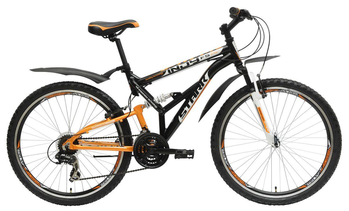 Велосипед StarkДвухподвесы<br>ВЕЛОСИПЕД STARK INDY FS (2015) — этот двухподвес начального уровня похож на футуристическое транспортно средство, но помимо яркого дизайна он привлекает удачной сбалансированной комплектацией для лучших впечатлений от езды. Вы оцените прочность и стойкость рамы из сплава алюминия 6061, который используют во многих велосипедах. Ободные V-brake тормоза и трансмиссия на 21 скорость сделают ваши поездки более комфортными и безопасными, поскольку вы сможете регулировать режим езды легко и просто. Улучшенная трансмиссия с вилкой Zoom 327 позволит вам ездить по неровным дорогам без лишних вибраций.У нас можно купить ВЕЛОСИПЕД STARK INDY FS (2015) уже сегодня. Помимо Интернет-магазина вы можете посетить нас в розничной точке продаж. Для вас — только оригинальные модели, приятные цены и все гарантии.<br><br>year: 2015<br>цвет: чёрный<br>пол: мужской<br>тип тормозов: ободной<br>диаметр колеса: 26<br>тип рамы: двухподвес<br>уровень оборудования: любительский<br>материал рамы: алюминий<br>тип амортизированной вилки: пружинная<br>длина хода вилки: до 100 мм<br>тип заднего амортизатора: пружинный<br>количество скоростей: 21<br>блокировка амортизатора: нет<br>цепь: Taya TB50<br>система: 42/34/24<br>ободья: Алюминиевый сплав, двойные<br>передняя втулка: Quando<br>задняя втулка: Quando<br>передняя покрышка: Wanda, 26 х 1.95<br>задняя покрышка: Wanda, 26 х 1.95<br>кассета: Shimano MFTZ21, 14-28T<br>передний переключатель: Shimano Tourney FD-TX50<br>задний переключатель: Shimano Tourney RD-TX35<br>манетки: Shimano ST-EF51<br>рама: Алюминиевый сплав 6061<br>вилка: Zoom 327<br>размер рамы: 17&amp;amp;quot;<br>Серия: Indy