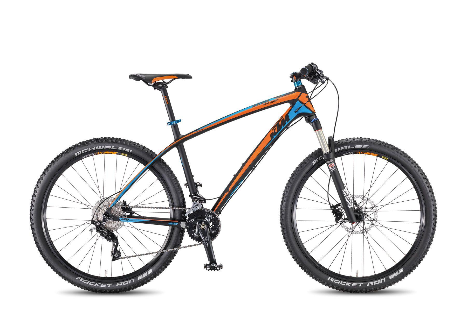 Велосипед KTMГорные<br><br><br>year: 2016<br>цвет: чёрный<br>пол: мужской<br>тип тормозов: дисковый гидравлический<br>диаметр колеса: 27.5<br>тип рамы: хардтейл<br>уровень оборудования: профессиональный<br>материал рамы: карбон<br>тип амортизированной вилки: воздушно-масляная<br>длина хода вилки: от 100 до 150 мм<br>тип заднего амортизатора: без амортизатора<br>количество скоростей: 20<br>блокировка амортизатора: да<br>рулевая колонка: KTM Team B303AM drop/in-tapered, +10<br>вынос: KTM Team KT-6, 7 градусов<br>руль: KTM Team HB-FB21L, прямой, ширина 680 мм, 9 градусов<br>грипсы: KTM Team VLG - 864 - 12D3 Neopren, 1 Clamp<br>передний тормоз: Shimano M425, Shimano RT54 CL, диаметр ротора 180 мм<br>задний тормоз: Shimano M395, Shimano RT54 CL, диаметр ротора 160 мм<br>тормозные ручки: Алюминиевый сплав<br>система: Shimano Deore M617, 38-24T<br>педали: VP-195-E MTB, алюминиевый сплав<br>ободья: KTM-Line CC 27.5<br>передняя втулка: Shimano Deore CL - 100QR<br>задняя втулка: Shimano Deore CL - 135QR<br>передняя покрышка: Schwalbe Rocket Ron Evo, LSk-folding, 57-584<br>задняя покрышка: Schwalbe Rocket Ron Evo, LSk-folding, 57-584<br>седло: Selle Italia X1 Flow<br>подседельный штырь: KTM Team SP-719, 350/27.2 мм<br>кассета: Shimano HG50-10, 11-36<br>передний переключатель: Shimano Deore M617-E Sideswing<br>задний переключатель: Shimano Deore XT M781, shadow<br>манетки: Shimano Deore M610-10<br>вес: 11,2 кг<br>рама: Aera 27.5 Performance Carbon, Hardtail, R: 135QR<br>вилка: RockShox Recon gold, 27.5-SA-TK-T-QR9, Lockout w/o Remote, ход 100 мм<br>размер рамы: 17&amp;amp;quot;<br>Серия: Aera