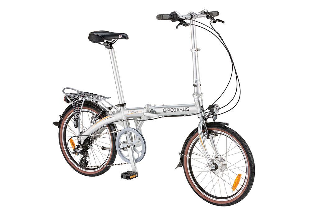 """Велосипед PegasusСкладные<br>Pegasus P8 – велосипед для тех, у кого мало места что бы хранить велосипед. Эта модель сделает каждый ваш выезд неповторимым и запоминающимся. Универсальность этой модели заключается в том, что она подойдёт как подросткам, так и пожилым людям, как мужчинам, так и женщинам. Pegasus P8 идеально подойдёт тем, кто предпочитает спокойное катание по ровным дорогам с асфальтовым покрытием. Если говорить о компонентах данной модели, то в первую очередь стоит отметить, что рама изготовлена из алюминиевого сплава, поэтому она имеют большой запас прочности. Имеются надёжные ободные тормоза типа V-Brake, а также революционная система складывания, которая позволит сложить велосипед за считанные секунды. Наш магазин предлагает купить Pegasus P8 по адекватной цене. У нас ждет широкий выбор, много акций и скидок, а также оперативная доставка по РФ.<br><br>year: 2015<br>пол: мужской<br>тип рамы: хардтейл<br>уровень оборудования: любительский<br>длина хода вилки: нет<br>блокировка амортизатора: нет<br>планетарная втулка: нет<br>рулевая колонка: WZ01<br>руль: XIE JING 6061, алюминиевый сплав<br>передний тормоз: Promax TX-117, алюминиевый сплав<br>задний тормоз: Promax TX-117, алюминиевый сплав<br>система: A002, алюминиевый сплав<br>каретка: Neco B910<br>педали: Прочный пластик, Neco B910<br>ободья: Алюминиевые, двойные, CNC Side-wall and Safety Line<br>передняя втулка: Динамовтулка Shimano with K-Mark, DH-2N35, 6V, 2.4W<br>задняя втулка: R: KT-AYEA<br>спицы: 14g нержавеющая сталь, brass nipple<br>передняя покрышка: Kenda, K841, 20"""" x 1.95""""<br>задняя покрышка: Kenda, K841, 20"""" x 1.95""""<br>седло: YBT-6699, Hi-Density<br>подседельный штырь: Алюминиевый со шкалой нанесенной лазером<br>кассета: Shimano, Right Twist Shift, ASLRS45R8A<br>манетки: Shimano, Right Twist Shift, ASLRS45R8A<br>багажник: Алюминиевый сплав<br>крылья: Алюминиевые<br>рама: Алюминий 6061<br>вилка: Hi-tensile Stee<br>тип заднего амортизатора: без амортизатора<br>цвет: серый<br>размер рамы: On"""