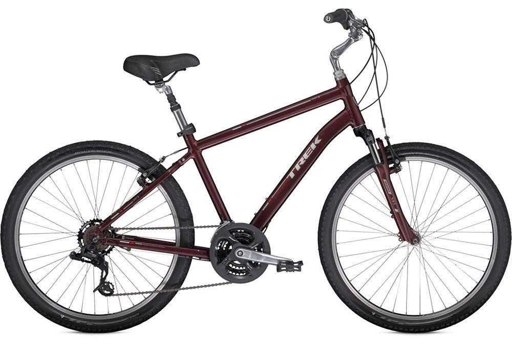 Велосипед TrekГородские<br>Новый горный велосипед от Trek, усовершенствованный с целью повышения удобства катания преимущественно по прямым дорогам. Особенностью линейки комфортных MTB является геометрия рамы – верхняя труба имеет больший подъем для более удобного расположения руля в посадке райдера. Для изготовления такой рамы использовался легкий алюминиевый сплав, однако потерю её прочности исключает применение высокоточной гидроформовки и баттирования труб. Велосипед укомплектован легкими и неприхотливыми в обслуживании ободными тормозами типа V-brake и накатистыми покрышками, достаточно толстыми и для пересечённой местности. Для комфортной посадки на модели установлен регулируемый руль и амортизирующее седло. Навесное оборудование Shimano. 21 скорость.<br><br>year: 2014<br>пол: мужской<br>вынос: Алюминиевый, регулируемый по наклону<br>руль: Стальной, подъем 80 мм<br>передний тормоз: Tektro<br>задний тормоз: Tektro<br>система: Forged alloy, 48/38/28, защита цепи<br>педали: Wellgo с пластиковой платформой<br>ободья: Bontrager AT-550, 36 hole, алюминиевые<br>передняя втулка: Formula FM21, алюминиевая<br>задняя втулка: Formula FM31, алюминиевая<br>передняя покрышка: Bontrager H5, 26 x 2.0<br>задняя покрышка: Bontrager H5, 26 x 2.0<br>седло: Bontrager Suburbia, мягкая обивка<br>подседельный штырь: Алюминиевый сплав, с амортизацией, диаметр 31,6 мм<br>кассета: SunRace Freewheel, 14-34<br>манетки: SRAM 3.0 Comp<br>рама: Алюминиевый сплав Alpha Gold<br>вилка: SR Suntour NEX, ход 50 мм<br>цвет: красный<br>размер рамы: 14.5&amp;amp;quot;<br>тип тормозов: ободной<br>диаметр колеса: 26<br>передний переключатель: Shimano M191<br>задний переключатель: SRAM X3<br>количество скоростей: 21