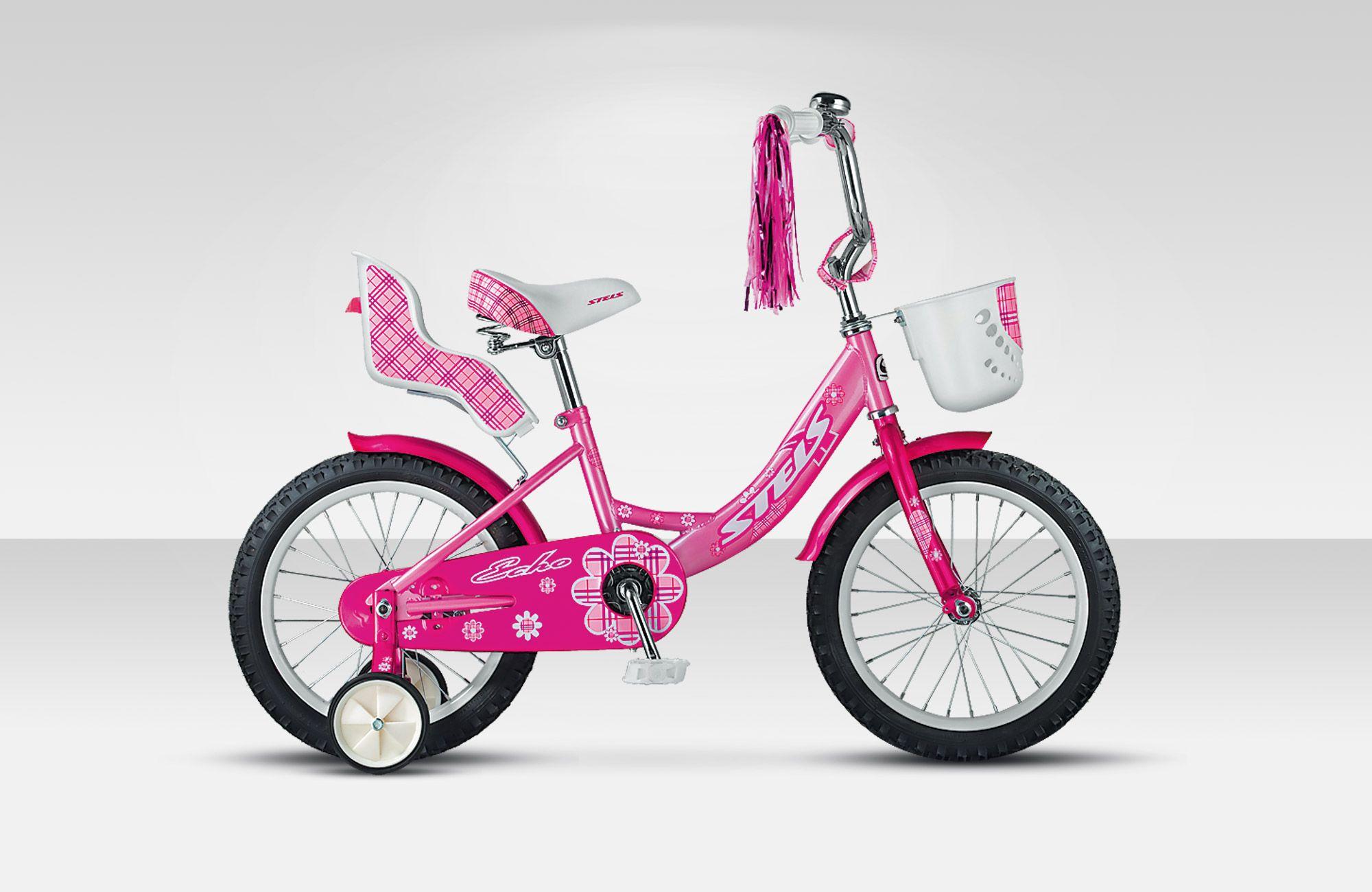 Велосипед StelsДетские<br>Прочный и яркий детский велосипед Stels Echo 16, рассчитанный на детей от 5 до 7 лет. Если ваш ребенок еще не умеет держать равновесие при катании на двух колесах, то в этом ему помогут дополнительные боковые колесики, которые можно быстро снять, когда навык ребенка вырастет. Безопасность при катании добавят мягкие накладки на руле и выносе, звоночек, крылья и защита цепи. В корзинку и багажник можно положить любимые игрушки и куклы. Стальная рама обладает высокой прочностью и обеспечивает Stels Echo 16 высокой прочностью и долговечностью.<br>
