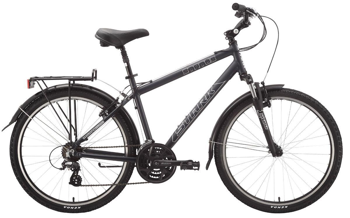 Велосипед StarkГородские<br>ВЕЛОСИПЕД STARK STATUS (2015) подчеркнет ваш статус профессионала. Это один из лучших горных байков легендарного российского производителя. В модели органично сочетается стильный внешний дизайн и техническая база, достойная профессиональных велосипедов. Байк насчитывает 21 скоростной режим, оснащен достаточно большими и мощными 26-дюймовыми колесами и эргономичными ободными тормозами Promax. Мягкую и плавную работу подвески гарантирует вилка SR Suntour SF13-M3010. Для удобства райдера модель оснащена багажником и крыльями.ВЕЛОСИПЕД STATUS (2015) представлен в ассортименте нашего магазина по минимально возможной цене в рублях. Байк обладает безупречным 100% качеством от производителя и отправляется в любой город РФ в сжатые сроки.<br><br>year: 2015<br>цвет: чёрный<br>пол: мужской<br>уровень оборудования: любительский<br>длина хода вилки: до 100 мм<br>блокировка амортизатора: нет<br>планетарная втулка: нет<br>передний тормоз: Promax<br>задний тормоз: Promax<br>цепь: KMC Z51<br>система: SR Suntour 48/38/28<br>ободья: Weinmann XTB26<br>передняя втулка: Joytech alloy<br>задняя втулка: Joytech alloy<br>передняя покрышка: Kenda, 26 х 1.95<br>задняя покрышка: Kenda, 26 х 1.95<br>кассета: SunRace MFM2A, 14-28T<br>манетки: Shimano ST-EF51<br>багажник: Есть<br>крылья: Есть<br>рама: Алюминиевый сплав 6061<br>вилка: SR Suntour SF13-M3010<br>размер рамы: 18&amp;amp;quot;<br>материал рамы: алюминий<br>тип тормозов: ободной<br>диаметр колеса: 26<br>тип амортизированной вилки: пружинная<br>передний переключатель: Shimano Tourney FD-TX51<br>задний переключатель: Shimano Altus<br>количество скоростей: 21