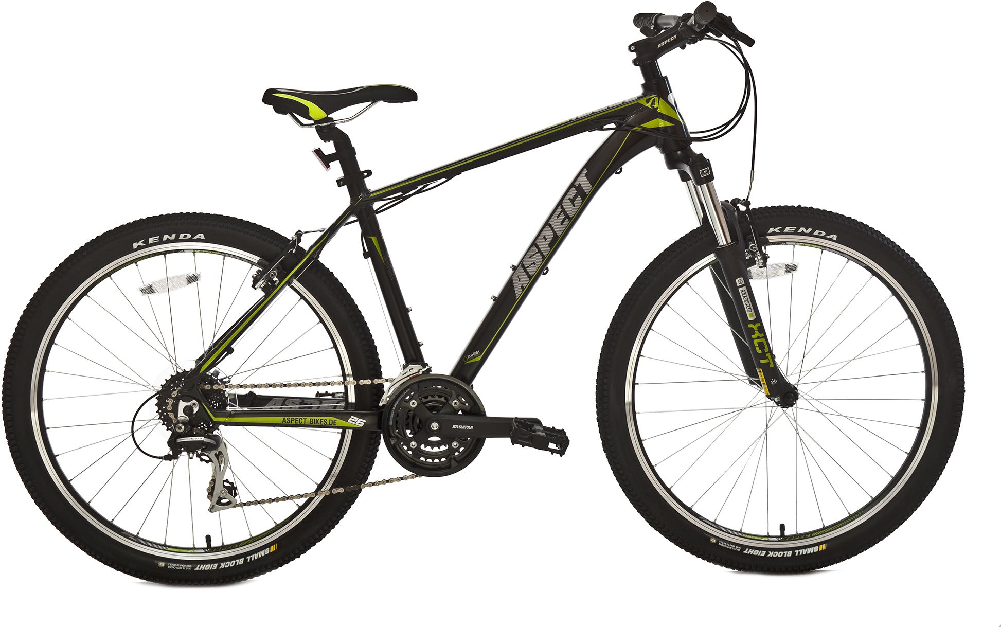 Велосипед AspectГорные<br><br><br>year: 2016<br>цвет: зелёный<br>пол: мужской<br>тип тормозов: ободной<br>диаметр колеса: 26<br>тип рамы: хардтейл<br>уровень оборудования: любительский<br>материал рамы: алюминий<br>тип амортизированной вилки: пружинная<br>длина хода вилки: от 100 до 150 мм<br>тип заднего амортизатора: без амортизатора<br>количество скоростей: 24<br>блокировка амортизатора: нет<br>рулевая колонка: Neco, полуинтегрированная<br>вынос: Zoom, алюминиевый сплав, 31,8 x 90 мм<br>руль: Zoom, алюминиевый сплав, ширина 660 мм, 31,8 мм<br>передний тормоз: Promax<br>задний тормоз: Promax<br>тормозные ручки: Алюминиевый сплав<br>система: Suntour, 42/34/24T, 175 мм<br>ободья: 26, двойные, 32H<br>передняя втулка: Joytech, 32H, алюминиевый сплав<br>задняя втулка: Joytech, 32H, алюминиевый сплав<br>передняя покрышка: Kenda K-1047, 26 x 2,10<br>задняя покрышка: Kenda K-1047, 26 x 2,10<br>седло: Velo<br>подседельный штырь: Zoom, алюминиевый сплав, 31,6 x 350 мм<br>кассета: Shimano CS-HG31, 11-34T, 8 скоростей<br>передний переключатель: Shimano FD-M190<br>задний переключатель: Shimano Acera RD-M360<br>манетки: Shimano ST-EF51<br>рама: Hydroformed, алюминиевый сплав 6061<br>вилка: Suntour XCT, ход 100 мм<br>размер рамы: 18&amp;amp;quot;<br>Серия: Ideal