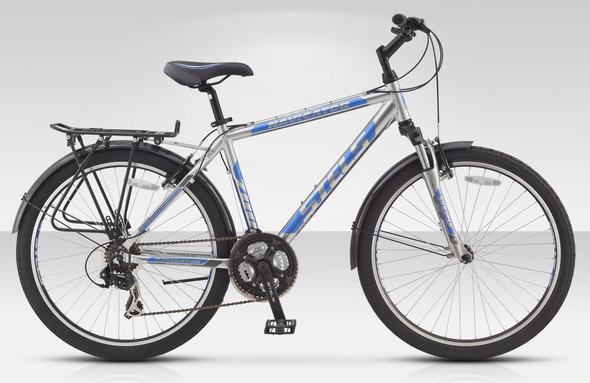 Велосипед StelsГородские<br>Stels Navigator 700 - это универсальный велосипед для практичных людей, которые ценят надежность и комфорт. Модель отлично подойдет для передвижения как по ровным дорогам, так и по проселочным тропам. Рама Stels Navigator 700 изготовлена из алюминиевого сплава, что положительно отразилось на весе и прочности. Амортизационная вилка позволит с комфортом передвигаться по бездорожью. Благодаря багажнику вы сможете транспортировать небольшие грузы. Трансмиссия Shimano Tourney оставит о себе только положительные эмоции.<br><br>year: 2016<br>пол: мужской<br>уровень оборудования: любительский<br>длина хода вилки: до 100 мм<br>блокировка амортизатора: нет<br>планетарная втулка: нет<br>рулевая колонка: Feimin, сталь<br>передний тормоз: Power, V-типа<br>задний тормоз: Power, V-типа<br>система: Prowheel, сталь, 28/38/48 зубьев<br>каретка: Feimin, картридж<br>педали: Feimin, пластик<br>ободья: Алюминиевые, двойные<br>передняя втулка: JoyTech, алюминий<br>задняя втулка: JoyTech, алюминий<br>передняя покрышка: Chao Yang, 26 x 1.95<br>задняя покрышка: Chao Yang, 26 x 1.95<br>седло: Cionlli<br>кассета: Shimani Tourney, MF-TZ21<br>манетки: Shimano Altus, ST-EF51<br>багажник: Есть<br>крылья: Сталь<br>подножка: Есть<br>рама: Алюминий<br>вилка: SR Suntour Nex, ход 50 мм<br>цвет: синий<br>размер рамы: 18&amp;amp;quot;<br>материал рамы: алюминий<br>тип тормозов: ободной<br>диаметр колеса: 26<br>тип амортизированной вилки: пружинная<br>передний переключатель: Shimano Tourney, FD-TX51<br>задний переключатель: Shimano Tourney, RD-TX35<br>количество скоростей: 21