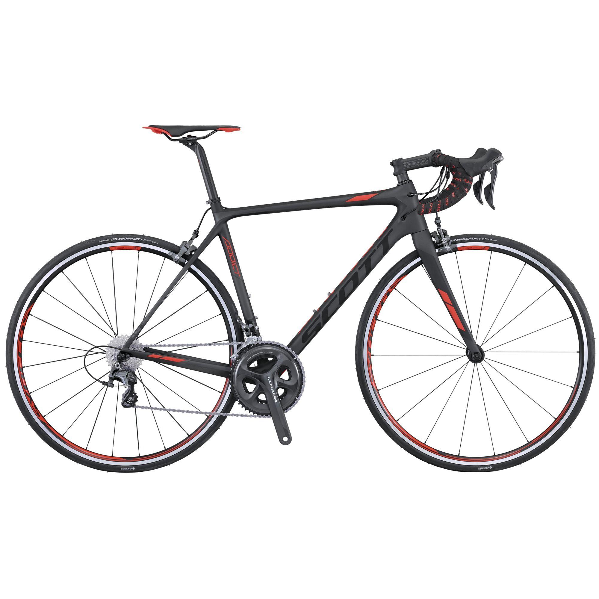 Велосипед ScottШоссейные<br>Классический шоссер Scott Addict 20, который подойдет для активных тренировок и и участия в шоссейных соревнованиях высокого уровня. Благодаря компонентам и стильному дизайну Scott Addict 20 сталь одним из любимчиков среди спортсменов по всему миру. Малый вес и высокую прочность велосипеду обеспечили карбоновые вилка и рама. Совмещение комплектов навесного оборудование Shimano Ultegra и Shimano 105 помогло добиться оптимального сочетания цены и качества. Торможение осуществляется ободной механикой от компании Shimano.<br><br>year: 2016<br>пол: мужской<br>уровень оборудования: профессиональный<br>рулевая колонка: Ritchey PRO Integrated<br>вынос: Syncros FL2.0, 1 1/8 / four Bolt 31.8 мм<br>руль: Syncros RR2.0, Anatomic 31.8 мм<br>задний тормоз: Shimano Ultegra BR-6800, Super SLR Dual pivot<br>тормозные ручки: Shimano Ultegra BR-6800, Super SLR Dual pivot<br>цепь: Shimano 105 CN-HG600<br>система: Shimano Ultegra FC-6800, Hollowtech II, 52x36T<br>каретка: Ultegra SM-BB72-41<br>ободья: Syncros RP2.0, спереди: 18H, сзади: 24H<br>передняя втулка: Syncros RP2.0<br>задняя втулка: Syncros RP2.0<br>спицы: Syncros RP2.0<br>передняя покрышка: Continental Grand Sport Race, Fold, 700 x 23C<br>задняя покрышка: Continental Grand Sport Race, Fold, 700 x 23C<br>седло: Syncros RR2.0<br>подседельный штырь: Syncros Carbon FL1.0 ECL, Ergoptimized Comfort Layup, 27.2 х 350 мм<br>кассета: Shimano 105 CS-5800, 11-28T<br>манетки: Shimano Ultegra ST-6800 Carbon, Dual control<br>вес: 7.14 кг<br>рама: Addict HMF / IMP Superlight Carbon technology / Road Race geometry / Replaceable Dropout / STD Seattube / INT BB<br>вилка: Addict HMF 1 1/8 - 1 1/4 Carbon steerer, Integrated Carbon Dropout<br>цвет: чёрный<br>размер рамы: 21&amp;amp;quot;<br>материал рамы: карбон<br>тип тормозов: ободной<br>передний переключатель: Shimano Ultegra FD-6800<br>задний переключатель: Shimano Ultegra RD-6800 SS<br>количество скоростей: 22