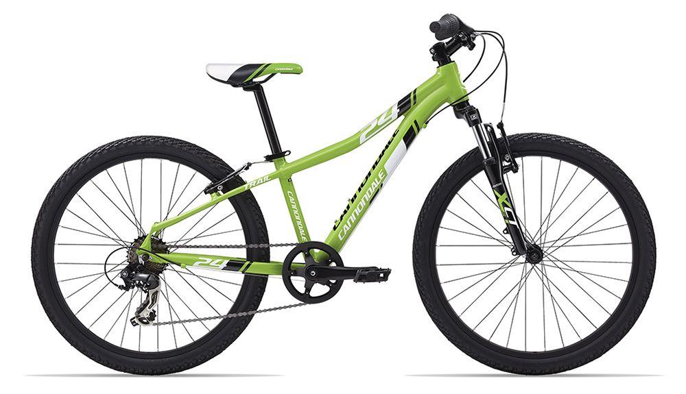 Велосипед CannondaleДетские<br>ВЕЛОСИПЕД CANNONDALE TRAIL 24 (BOYS) (2015) – это удобный и очень эргономичный велосипед для мальчиков подросткового возраста ростом 130 – 150 см. Рама изделия выполнена из облегченного алюминиево-магниевого сплава, который обладает большей прочностью, чем обычный алюминий за счет более толстых стенок рамы. Модель оснащена вилкой SunTour XCT-JR 24, рабочий ход которой составляет 40 мм. Это позволяет снизить ударные нагрузки и вибрации на руки во время передвижения. Велосипед легко помещается в багажнике автомобиля за счет легкости снятия колес.Купить ВЕЛОСИПЕД CANNONDALE TRAIL 24 (BOYS) (2015) для поездок по городу или на природе можно в нашем интернет магазине. Мы предлагаем оптимальное сочетание цены и качества товара, осуществляем доставку по всей территории России. Оформите заявку онлайн прямо сейчас!<br><br>year: 2015<br>пол: мальчик<br>тип рамы: хардтейл<br>рулевая колонка: Tange Seiki Alloy, 1-1/8<br>вынос: Alloy Ahead, 60 мм<br>руль: Алюминиевый сплав, ширина 580 мм, подъем 25.4 мм<br>грипсы: Cannondale Kids Performance<br>передний тормоз: V-Brake, алюминиевый сплав, linear pull<br>задний тормоз: V-Brake, алюминиевый сплав, linear pull<br>тормозные ручки: Alloy, linear pull<br>цепь: KMC Z50, 1/2x3/32<br>система: Алюминиевый сплав 152 мм, 36T steel chianring<br>каретка: Картридж квадрат, конус<br>педали: VP композитная платформа с отражателями<br>ободья: Alex Z1000, одинарные стенки, 32 отверстия<br>передняя втулка: Formula Alloy, гаечное крепление оси<br>задняя втулка: 7 ступенчатая<br>спицы: 14g сталь, черные<br>передняя покрышка: Cannondale 24<br>задняя покрышка: Cannondale 24<br>седло: Cannondale Boys Ergo<br>подседельный штырь: Cannondale, алюминиевый сплав 27.2 мм<br>кассета: Shimano, 14-28, 7 скоростей<br>манетки: Shimano, RS-36, Revo Twist<br>рама: Алюминиевый сплав Optimized 6061, Trail 24, гладкая сварка<br>вилка: SunTour XCT-JR 24, 40 мм travel, 1-1/8<br>цвет: зелёный<br>материал рамы: алюминий<br>тип тормозов: ободно
